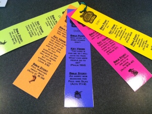 Instead of purchasing Memory Makers this year, our Family Tribe leaders made bookmarks with each day's Bible verse, Bible point