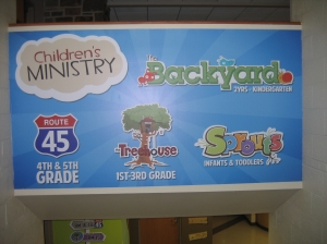 Our ministry has two entryways; this is the sign above one of them