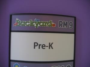 Pre-K room sign