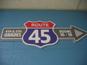 Directional sign to our Preteen Ministry area