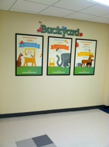One of my favorite walls - leads to our Preschool area